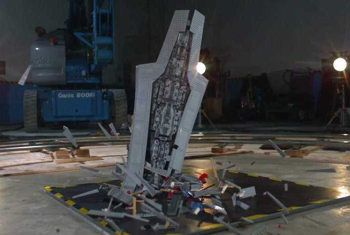 Watch a Lego Star Destroyer get obliterated in super slo-mo